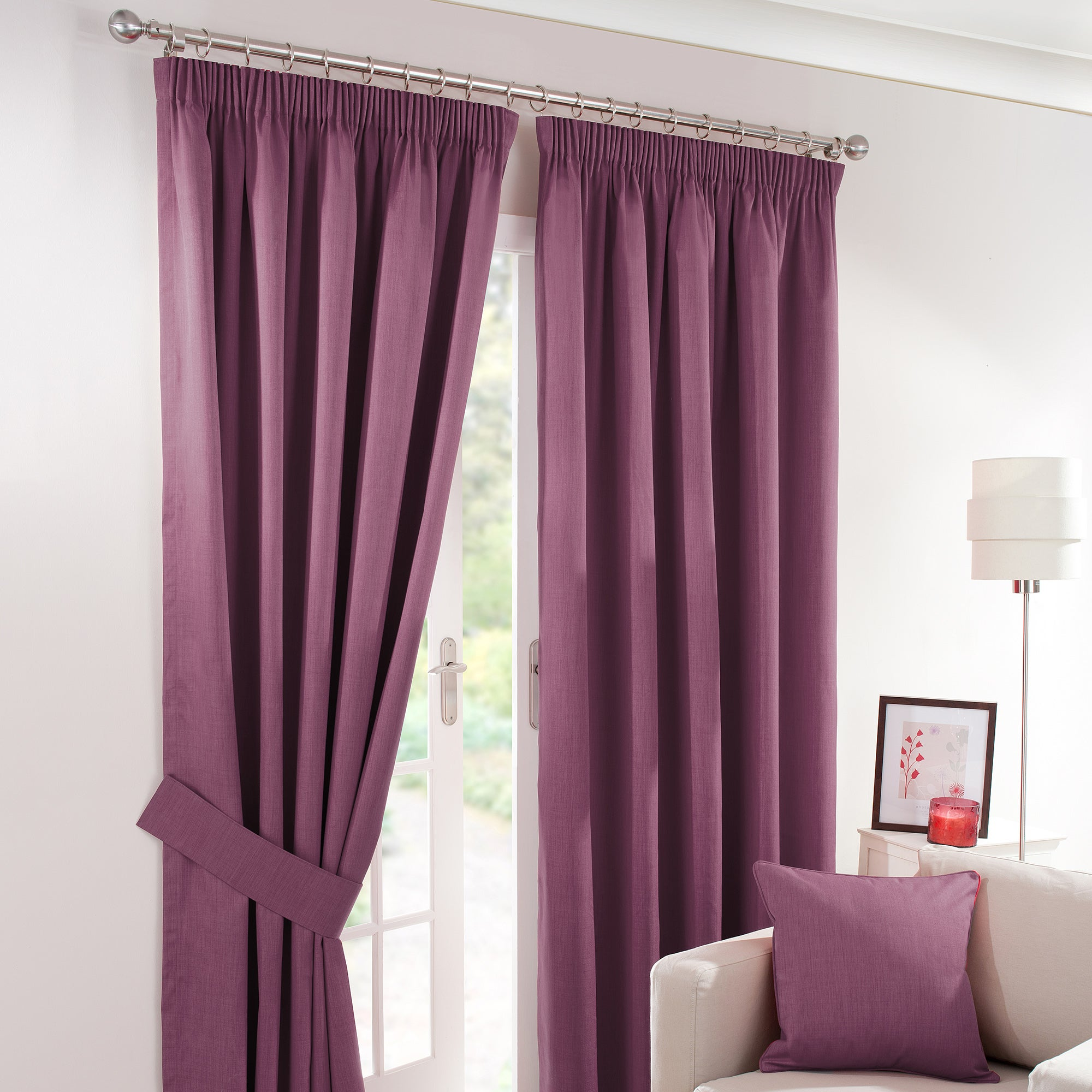 Aubergine Solar Blackout Pencil Pleat Curtain Collection