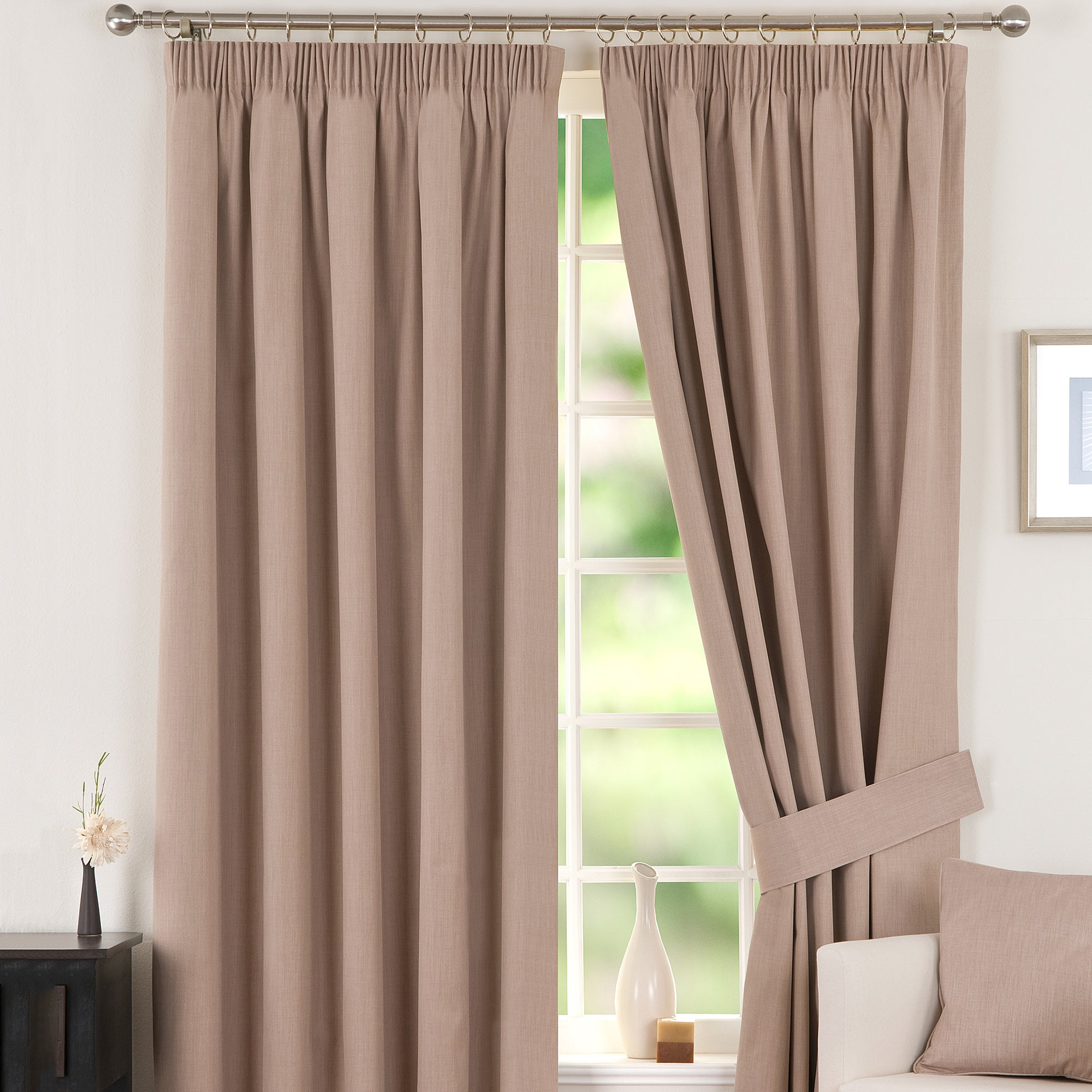 Biscuit Solar Blackout Pencil Pleat Curtain Collection