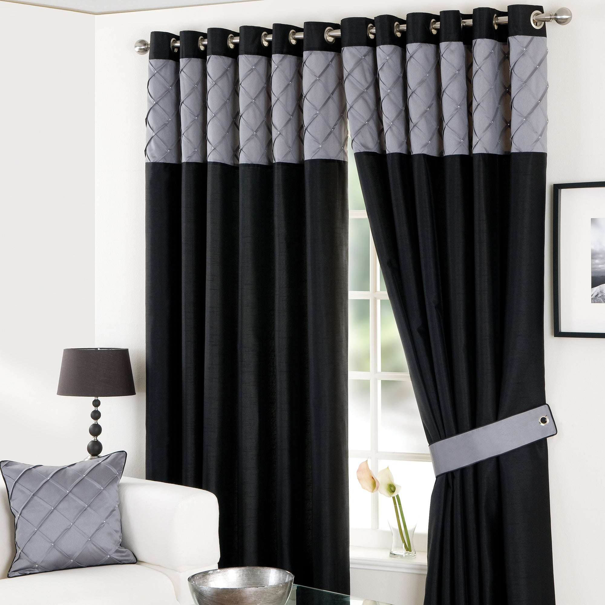 Black Parisian Eyelet Curtain Collection