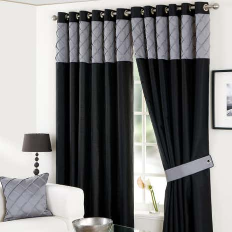 Black Parisian Eyelet Curtain Collection Dunelm