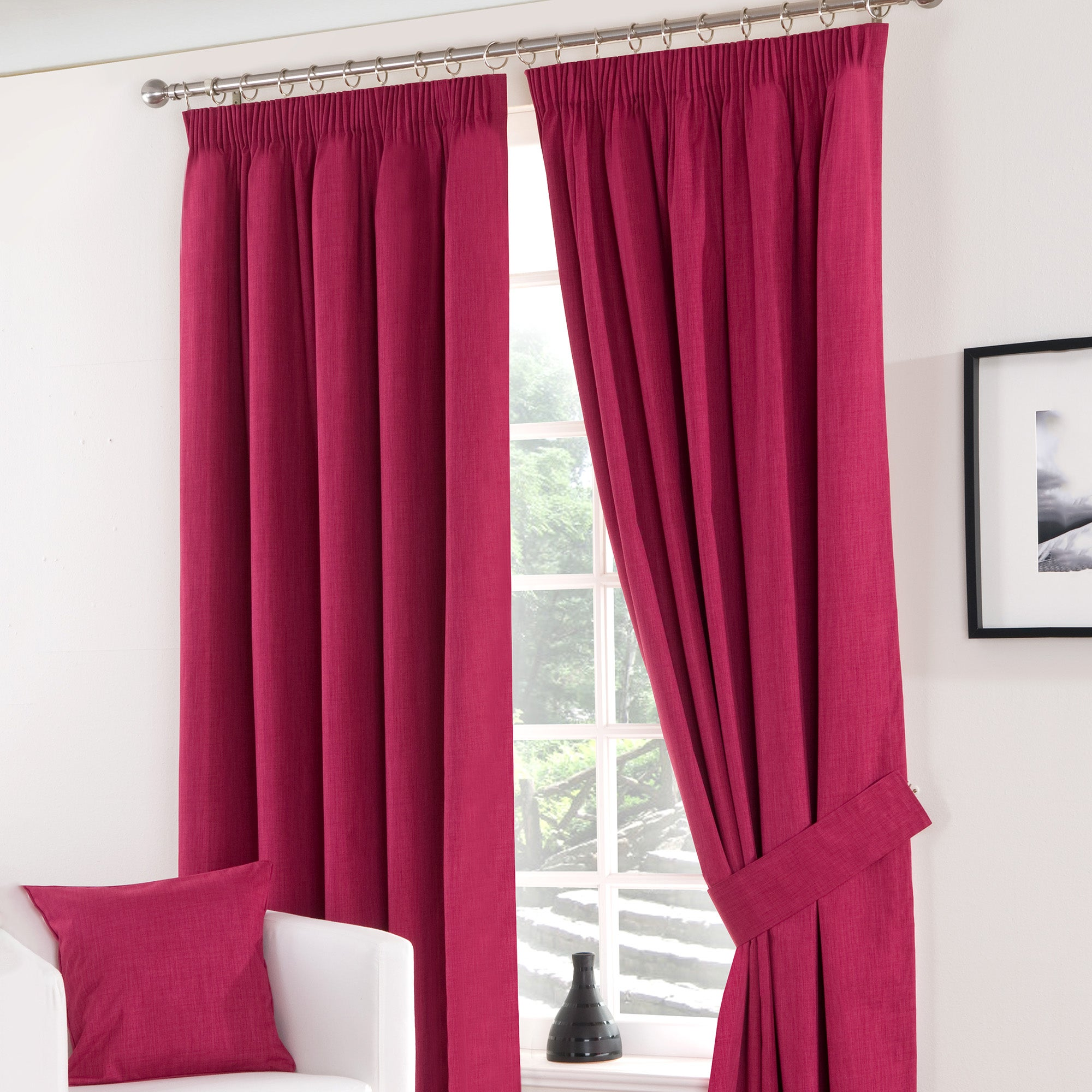 Fuchsia Solar Blackout Pencil Pleat Curtain Collection