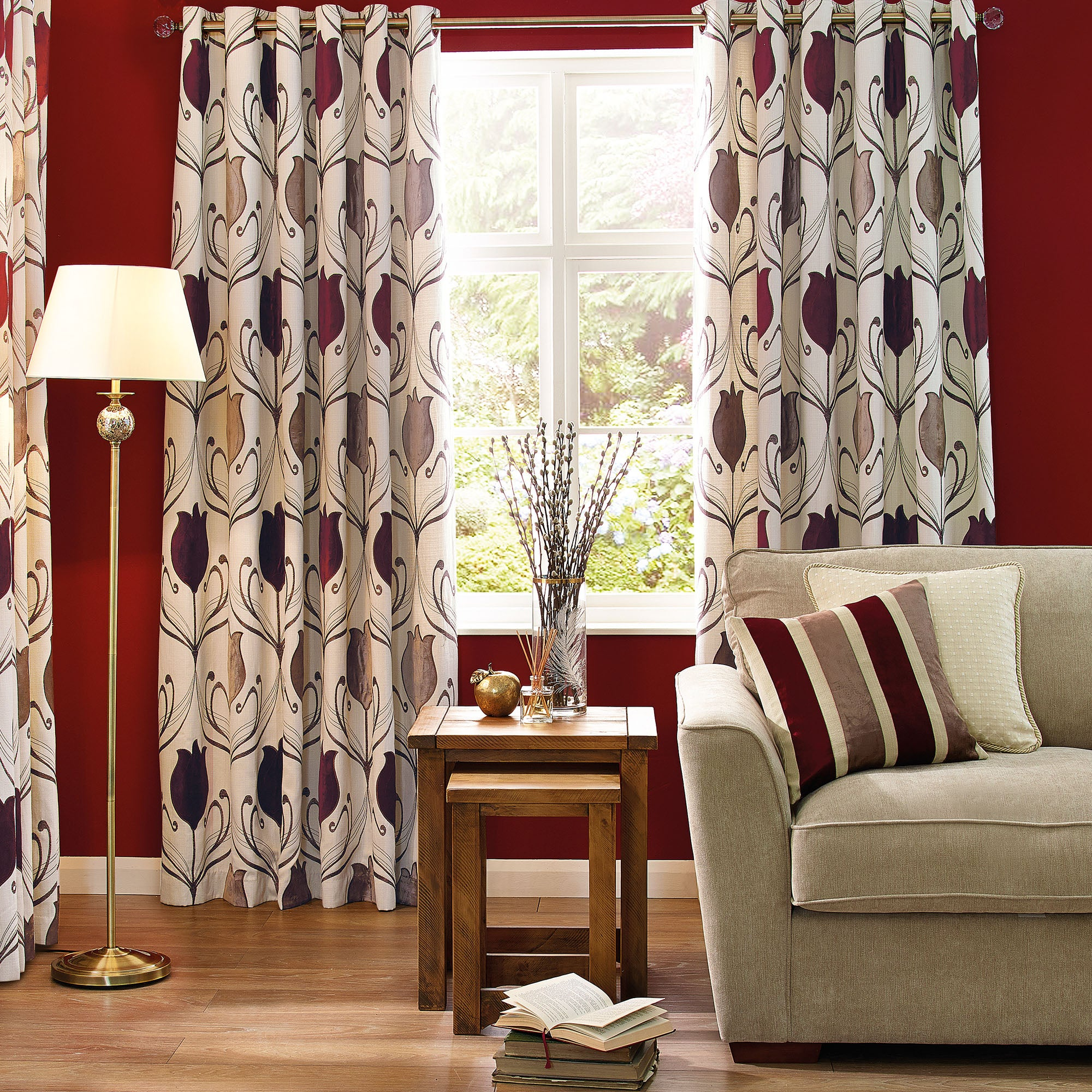 Wine Lalique Eyelet Curtain Collection