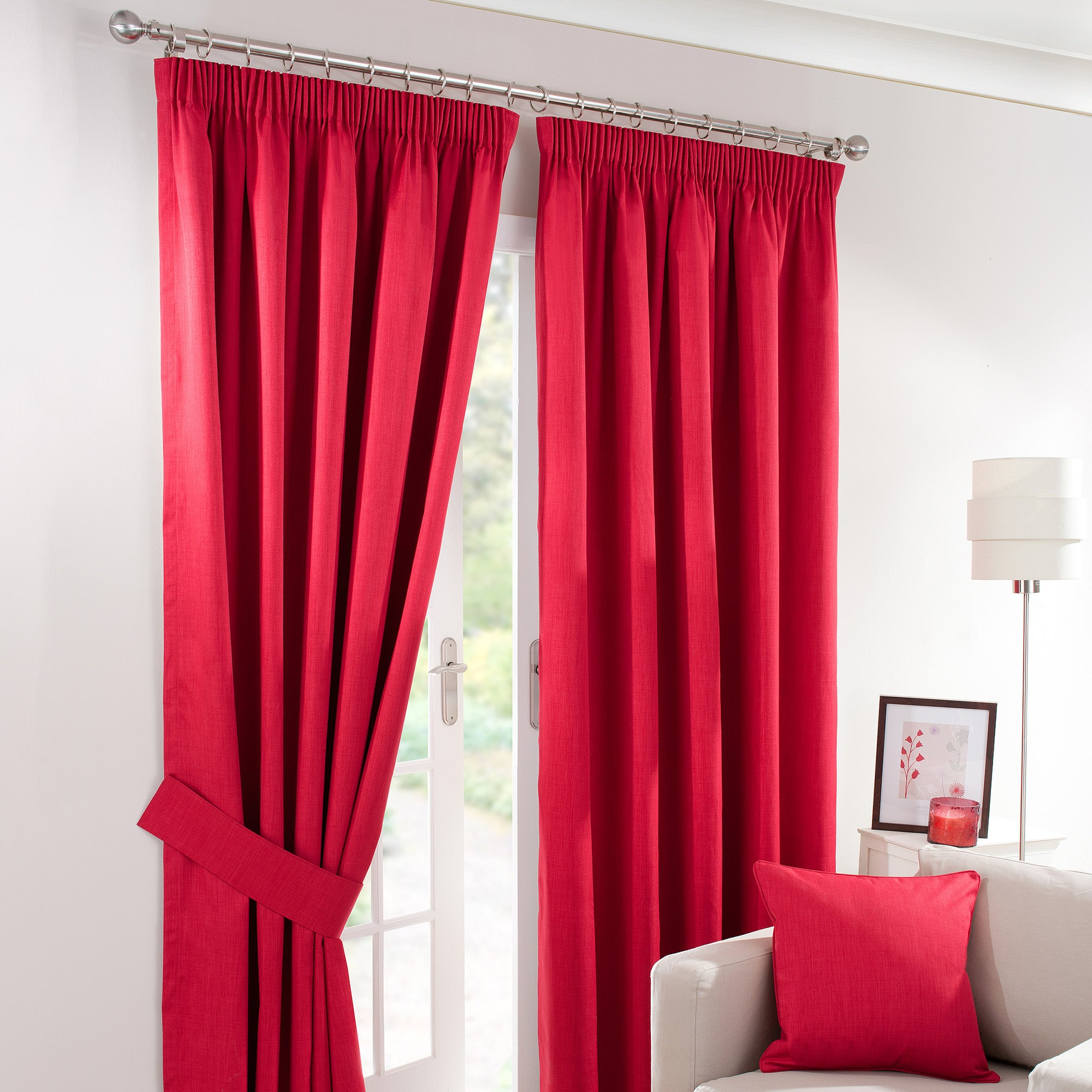 Red Solar Blackout Pencil Pleat Curtain Collection