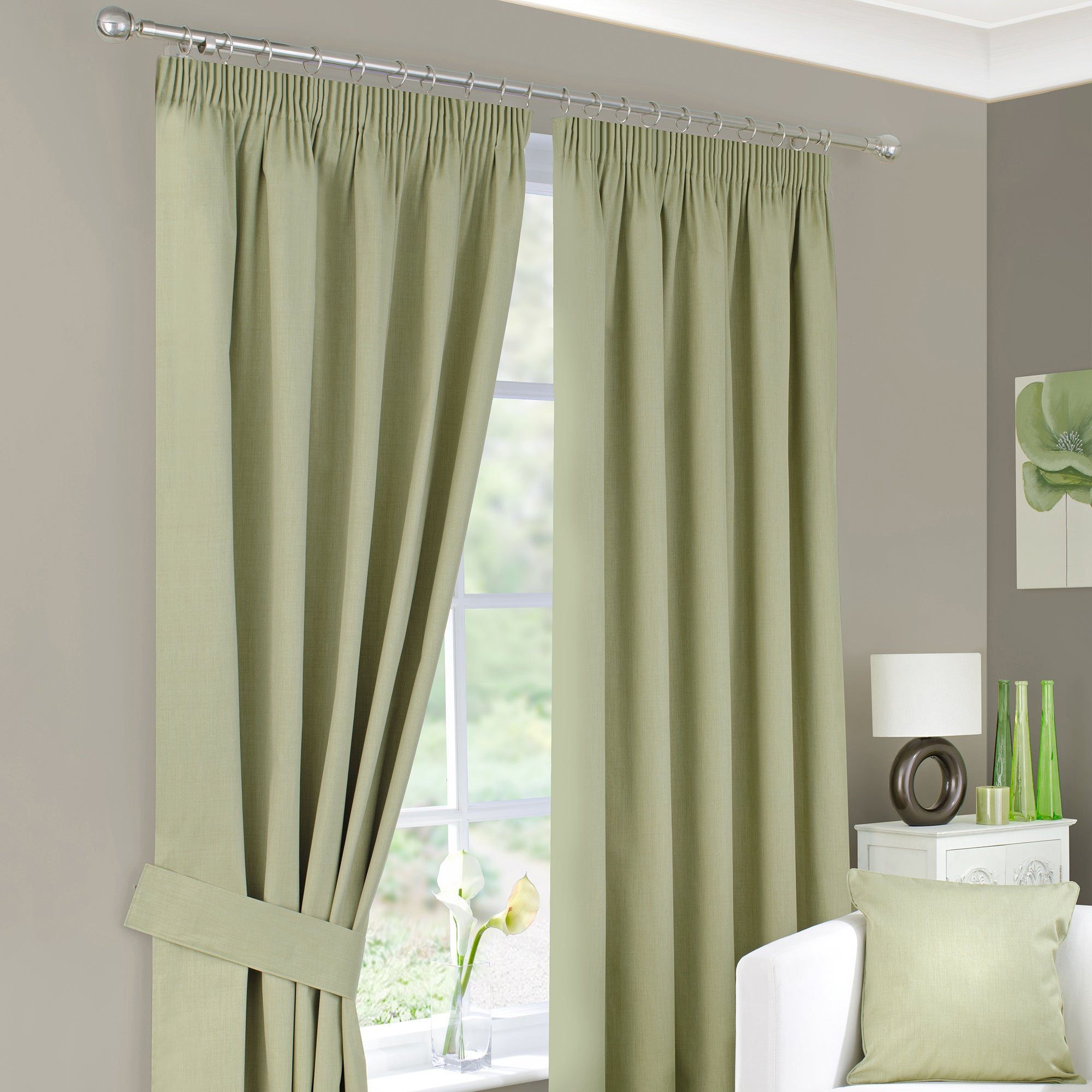 Green Solar Blackout Pencil Pleat Curtain Collection