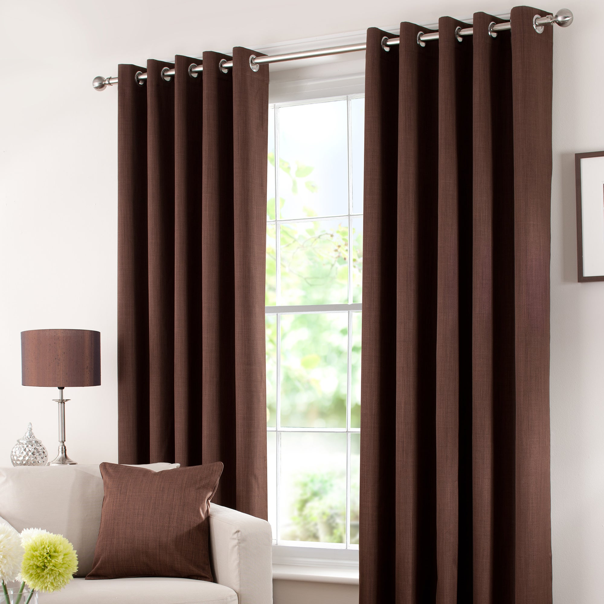 Chocolate Solar Blackout Eyelet Curtain Collection