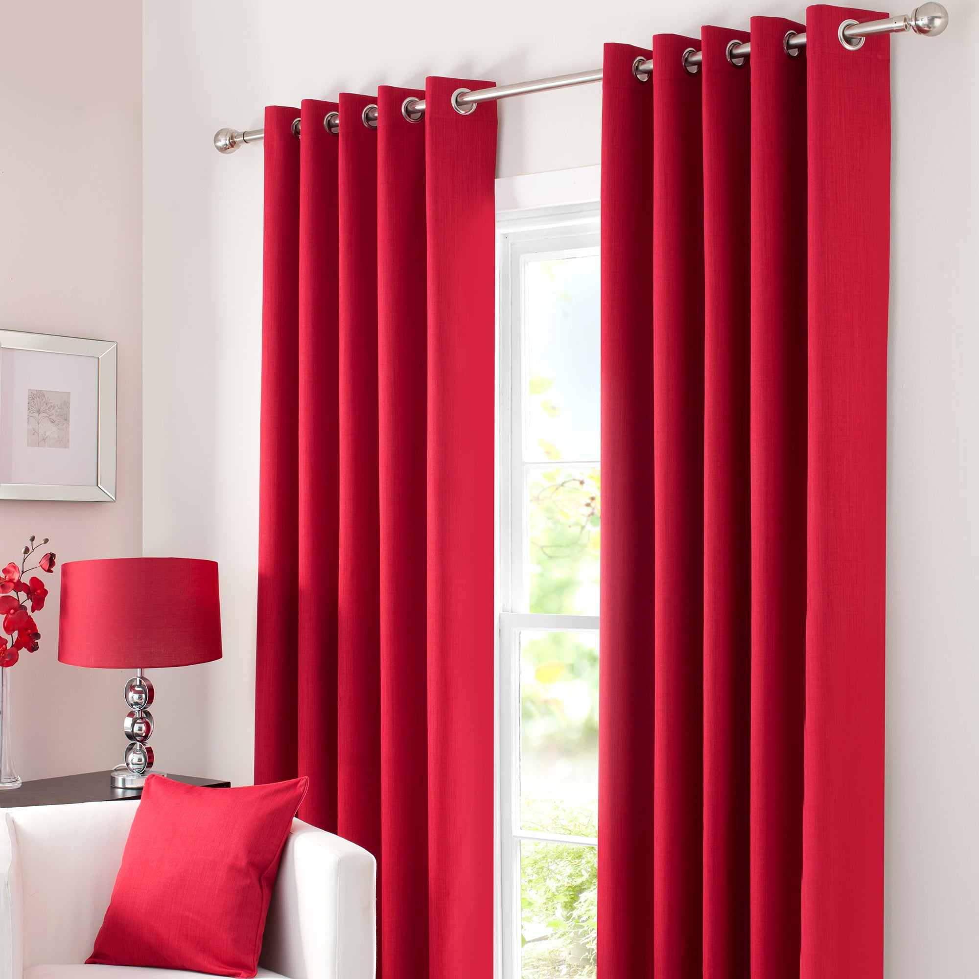 Red Solar Blackout Eyelet Curtain Collection