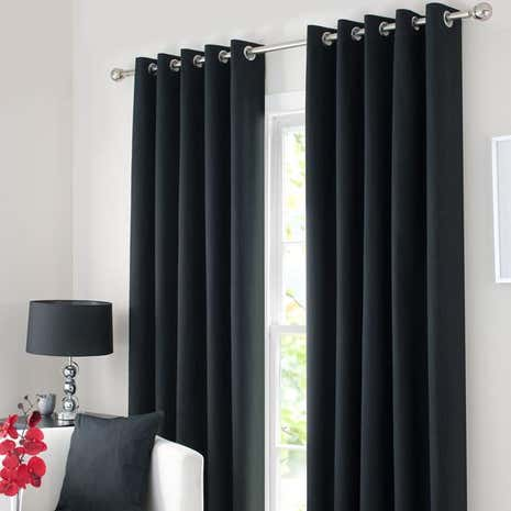 Black Solar Blackout Eyelet Curtain Collection Dunelm