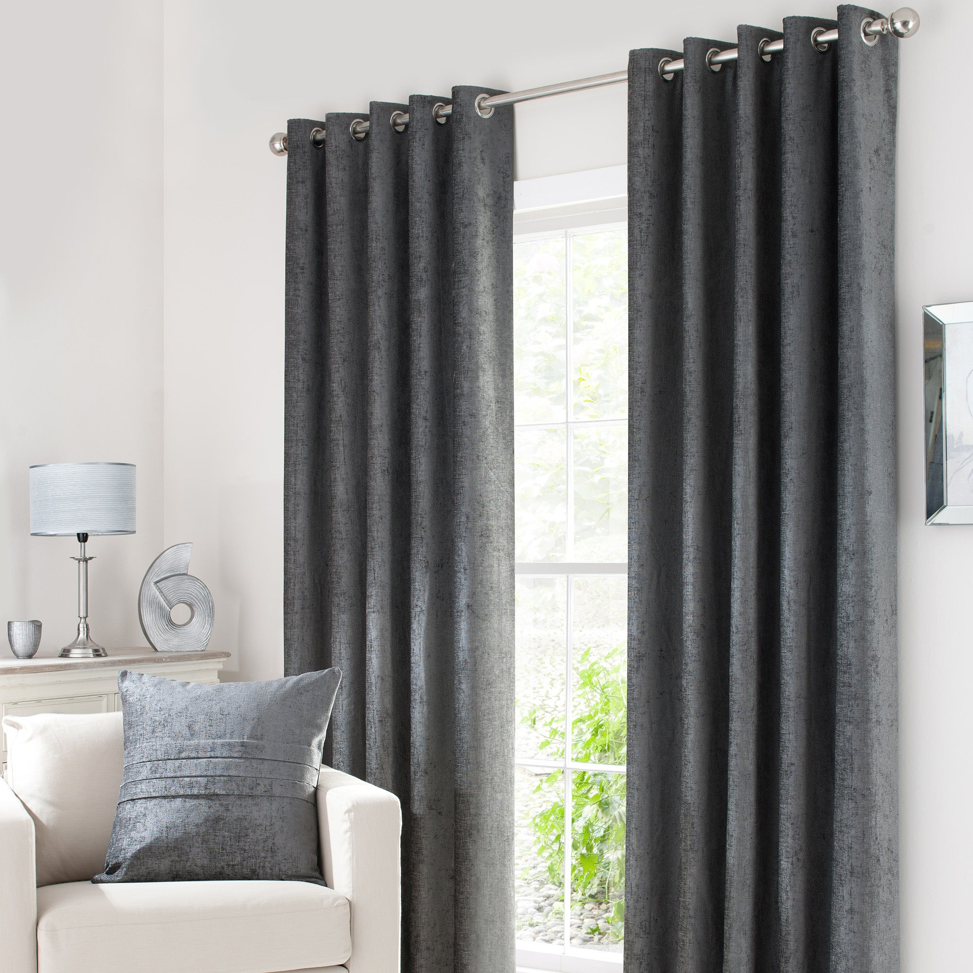 Grey Chenille Eyelet Curtain Collection