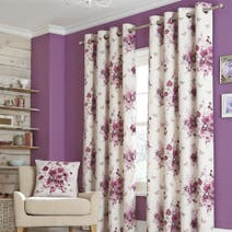 Purple Floral Curtains - Dunelm