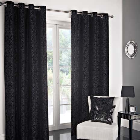 Black Manhattan Flock Lined Eyelet Curtain Collection Dunelm