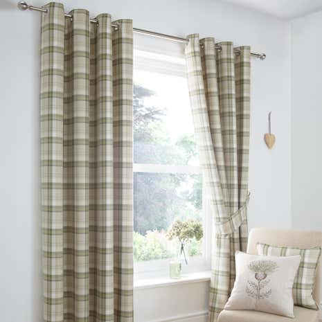 Green Balmoral Lined Eyelet Curtain Collection Dunelm