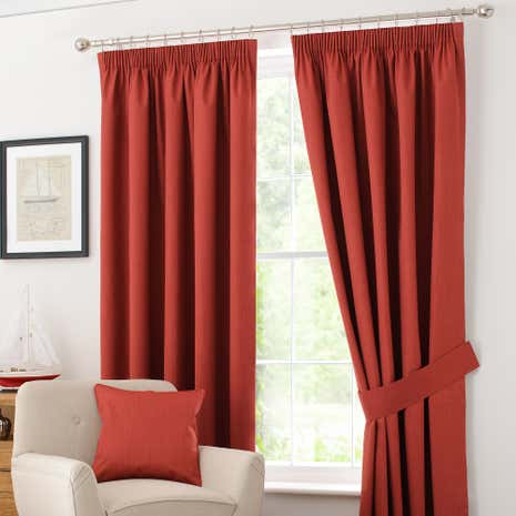 Rust Solar Blackout Pencil Pleat Curtain Collection Dunelm