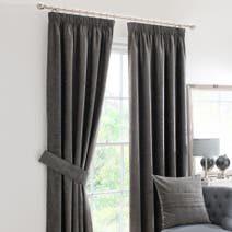 Grey Chenille Pencil Pleat Curtain Collection