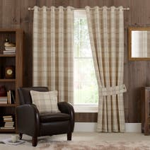 Natural Highland Check Eyelet Curtain Collection