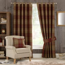 Wine Highland Check Eyelet Curtain Collection