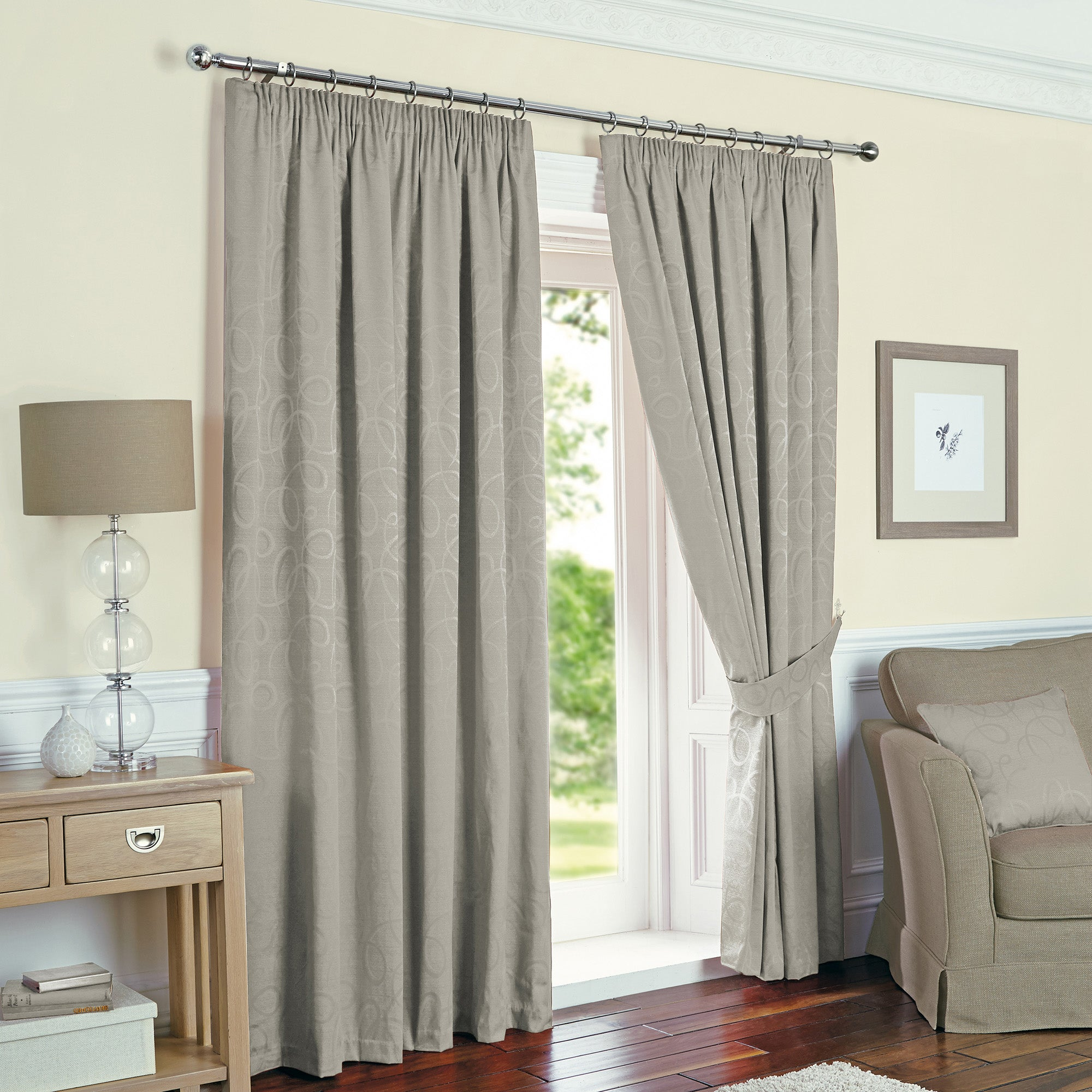 Toledo Silver Pencil Pleat Thermal Curtain Collection