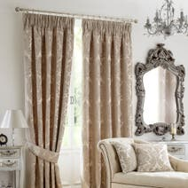 Natural Versailles Pencil Pleat Curtain Collection.