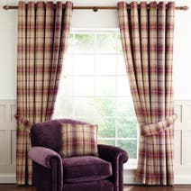 Dorma Plum Bloomsbury Check Curtain Collection