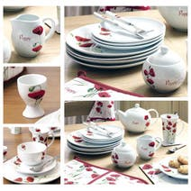 Red Painted Poppy Dinnerware Collection