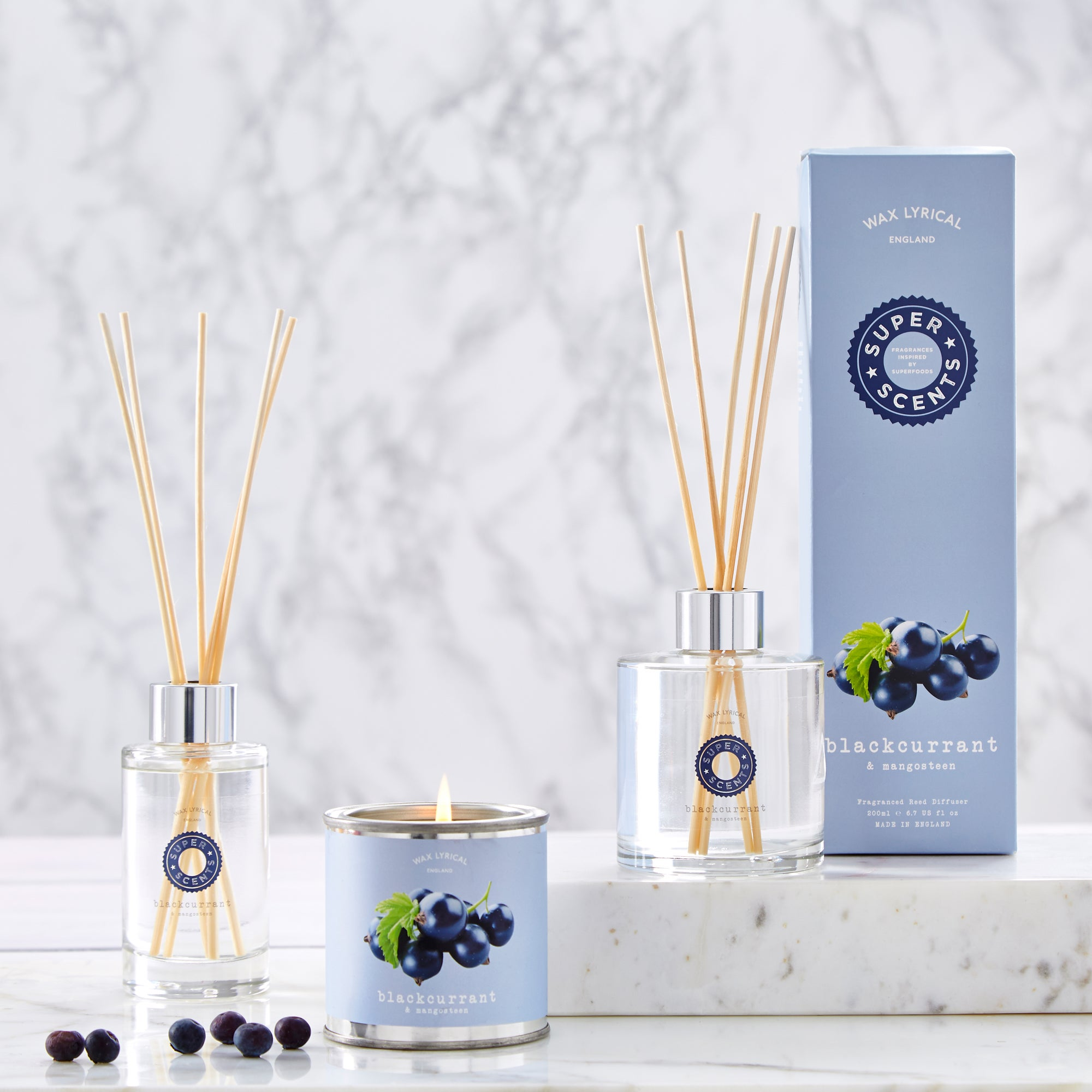 Wax Lyrical Superscents Blackcurrent and Mangosteen Fragrance Collection