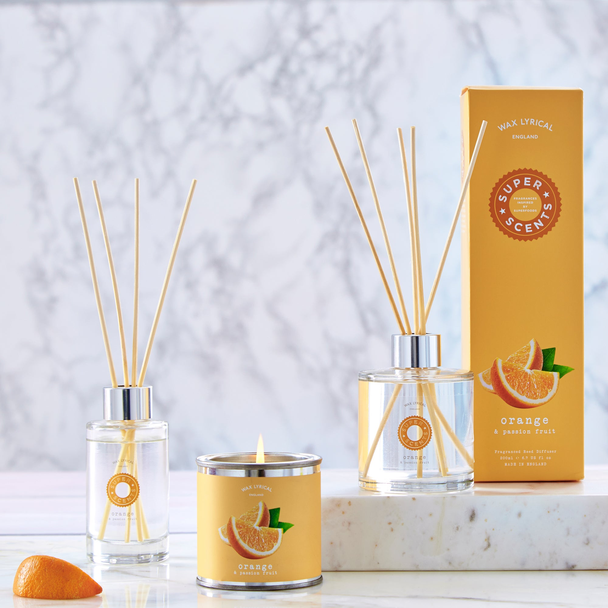 Wax Lyrical Superscents Orange and Passionfruit Fragrance Collection