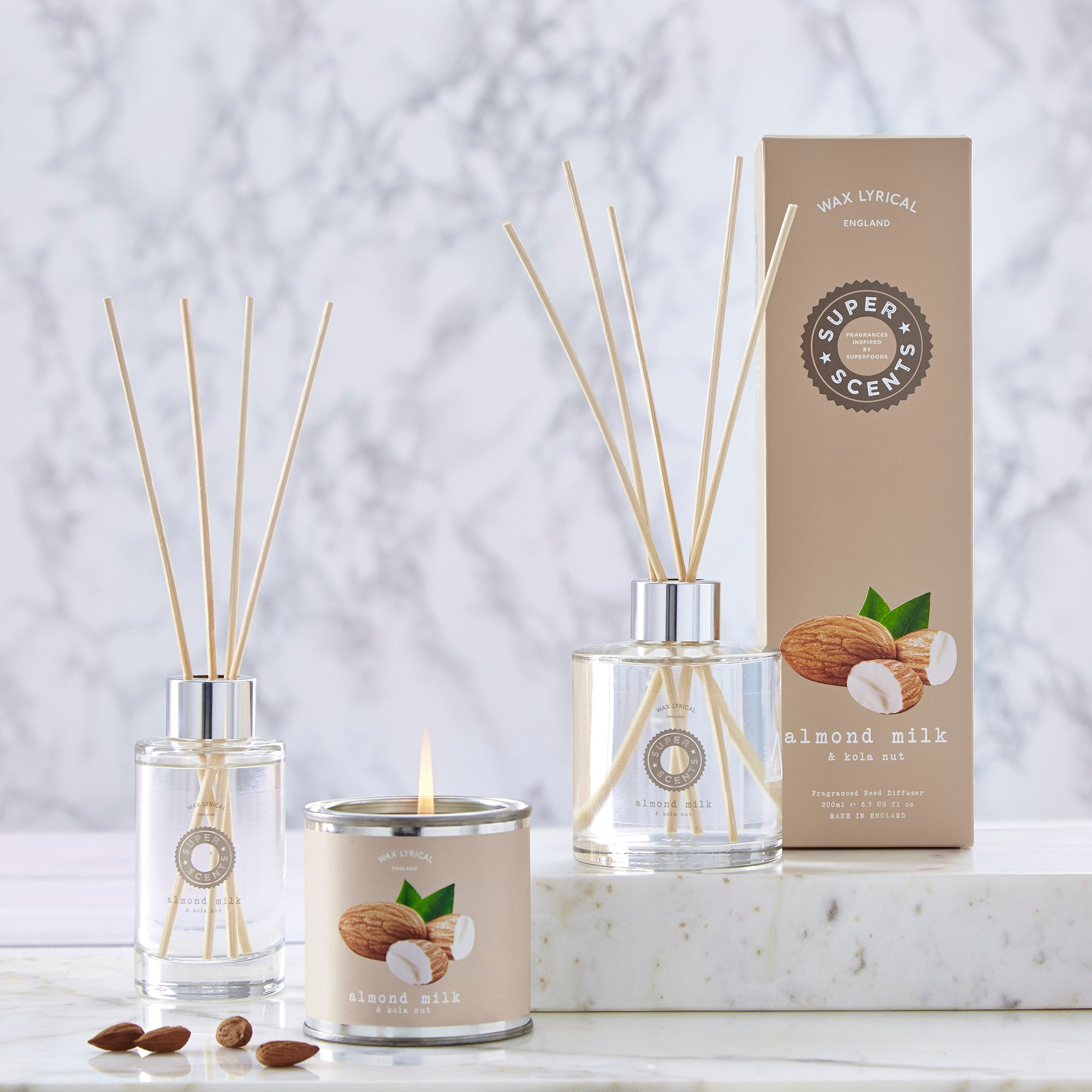 Wax Lyrical Superscents Almond Milk and Kola Nut Fragrance Collection