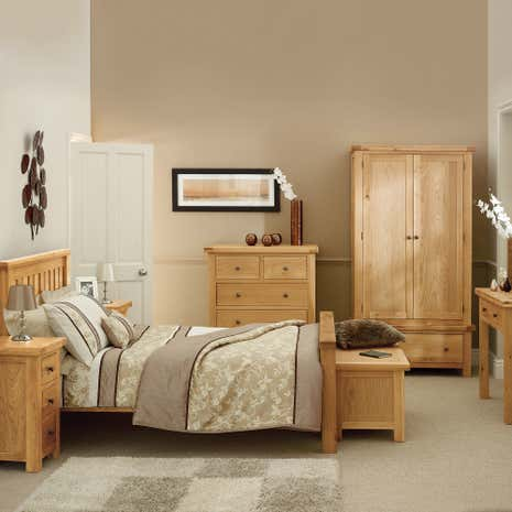 Harrogate oak bedroom collection dunelm for Living room designs with oak furniture