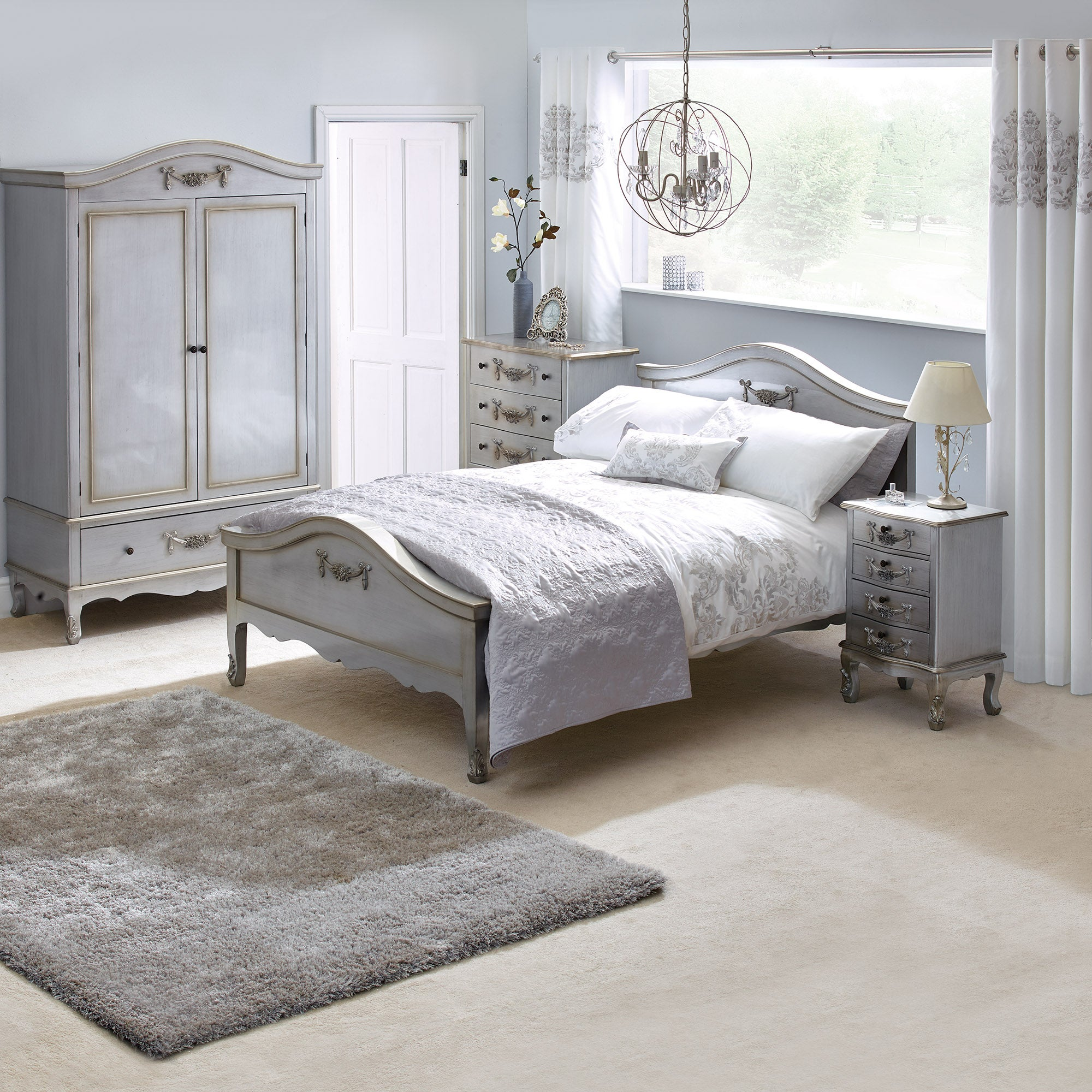 Toulouse Silver Bedroom Collection Dunelm - Toulouse bedroom furniture white