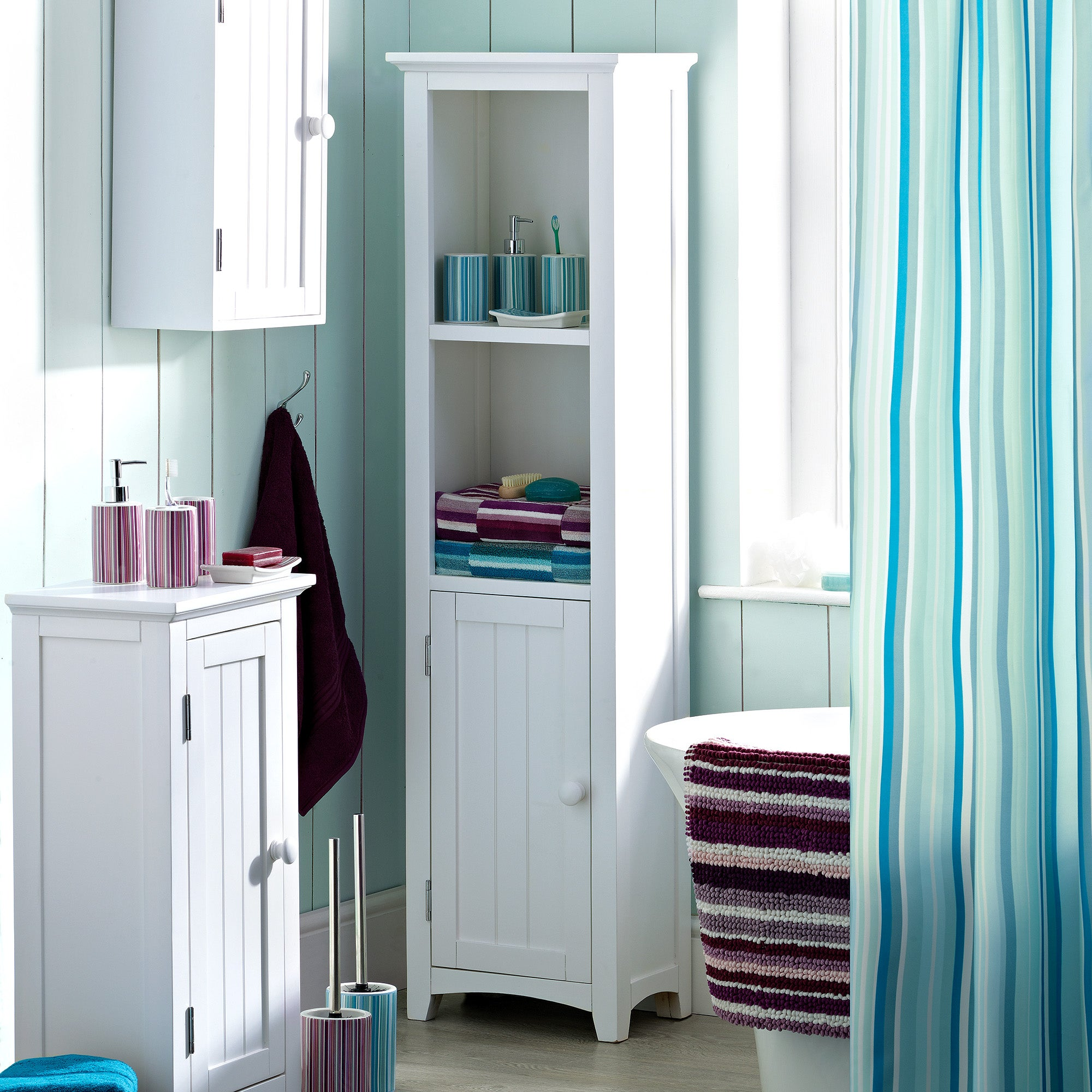 Monaco Acacia White Bathroom Furniture Collection Dunelm