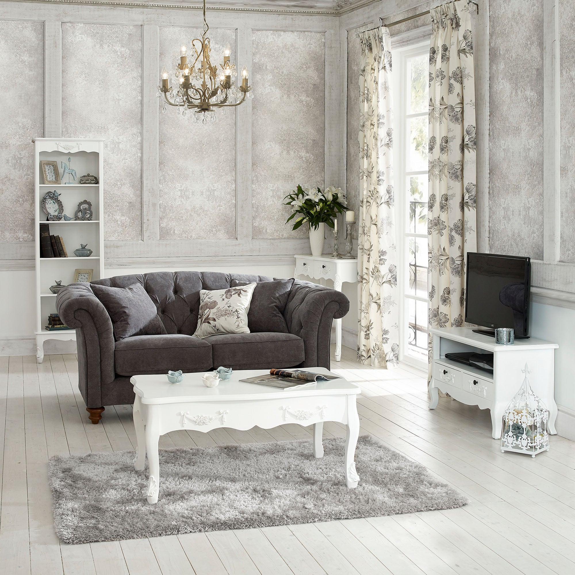 Toulouse White Living Room Collection | Dunelm