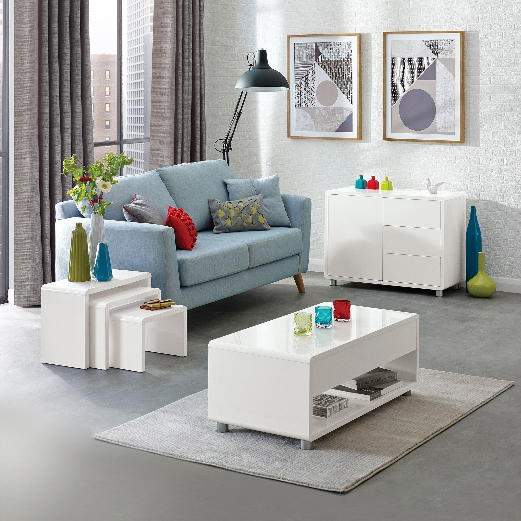 Soho White Living Room Collection