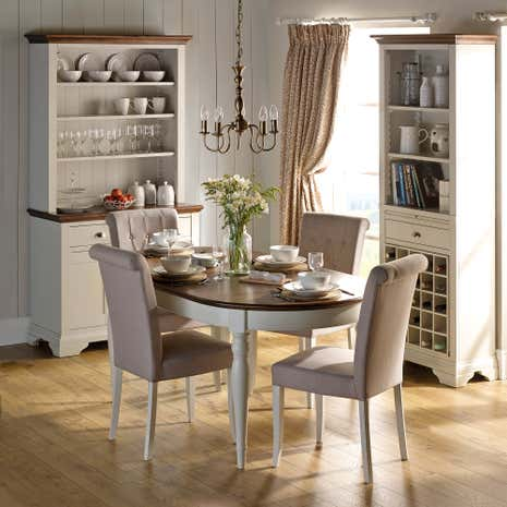 Eaton walnut dining room collection dunelm for Space fabric dunelm