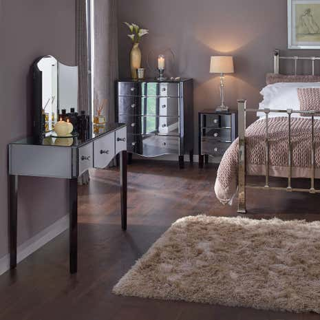 mirrored living room furniture. Viola Smoke Bedroom Collection Mirrored Furniture  Dunelm