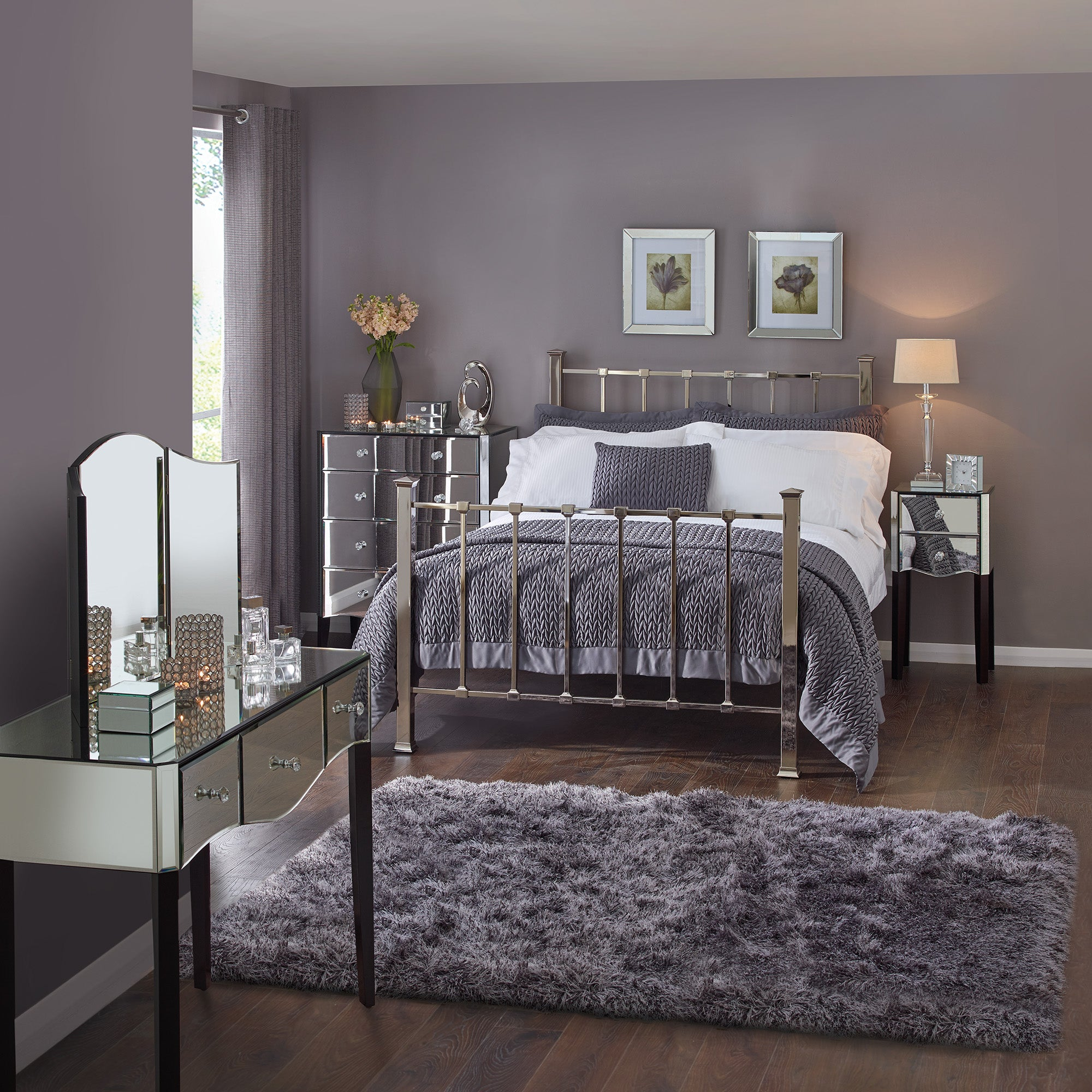 Attractive Viola Mirrored Bedroom Collection