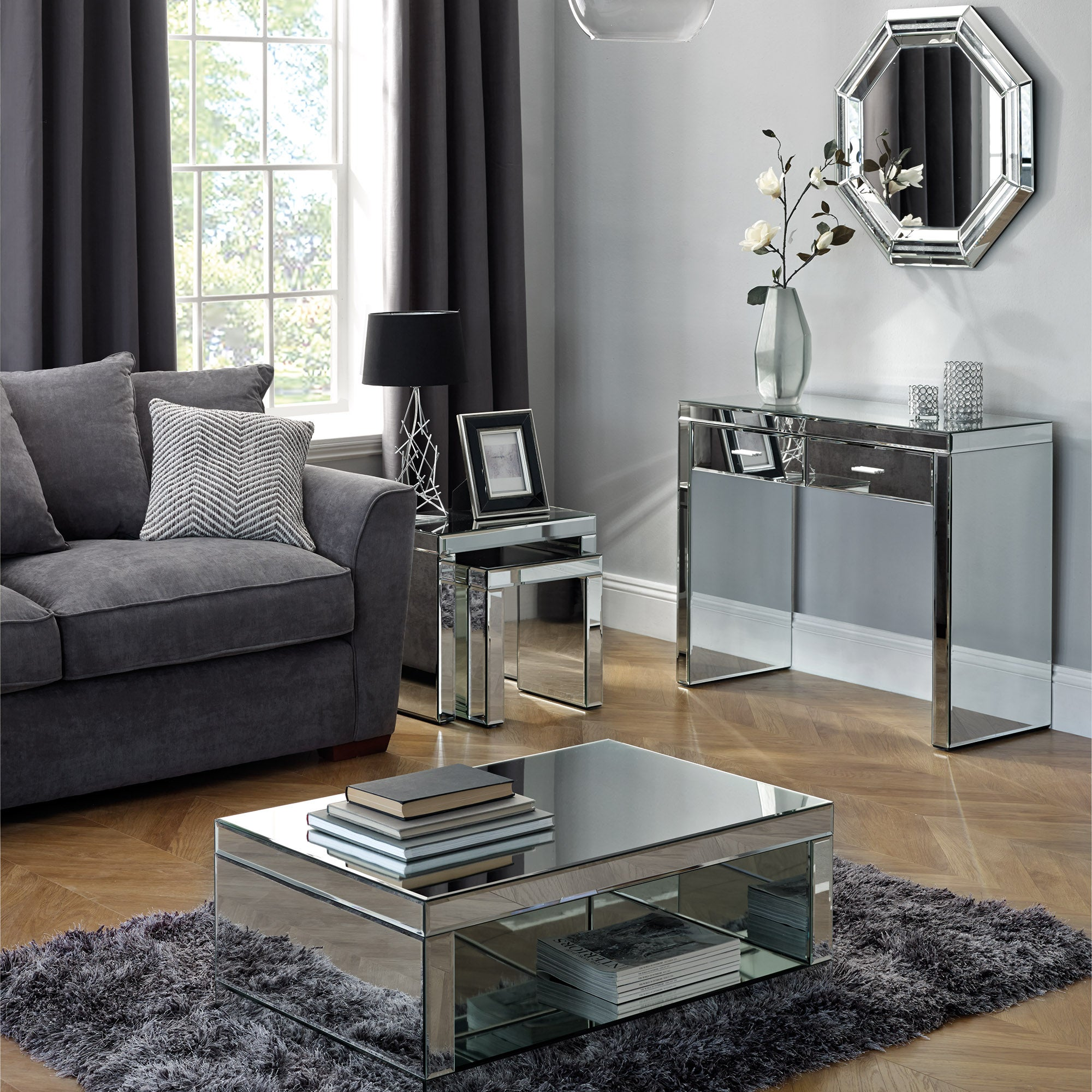 Mirrored tv cabinet living room furniture