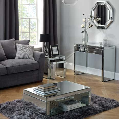Venetian Mirrored Living Room Collection - Mirrored Furniture Mirrored Bedroom Furniture Dunelm