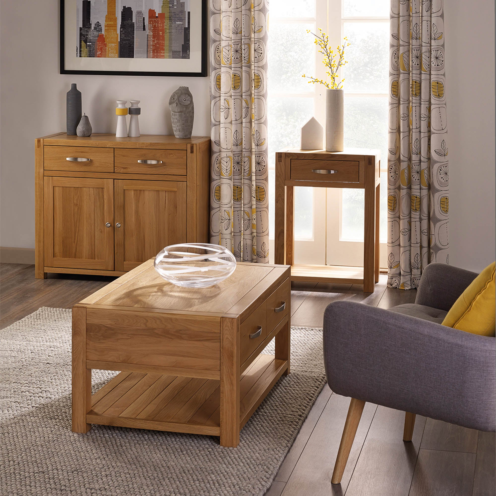 Hastings solid oak living room collection dunelm for Bedroom ideas with oak furniture