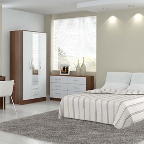 Lynx Walnut and White Bedroom Collection
