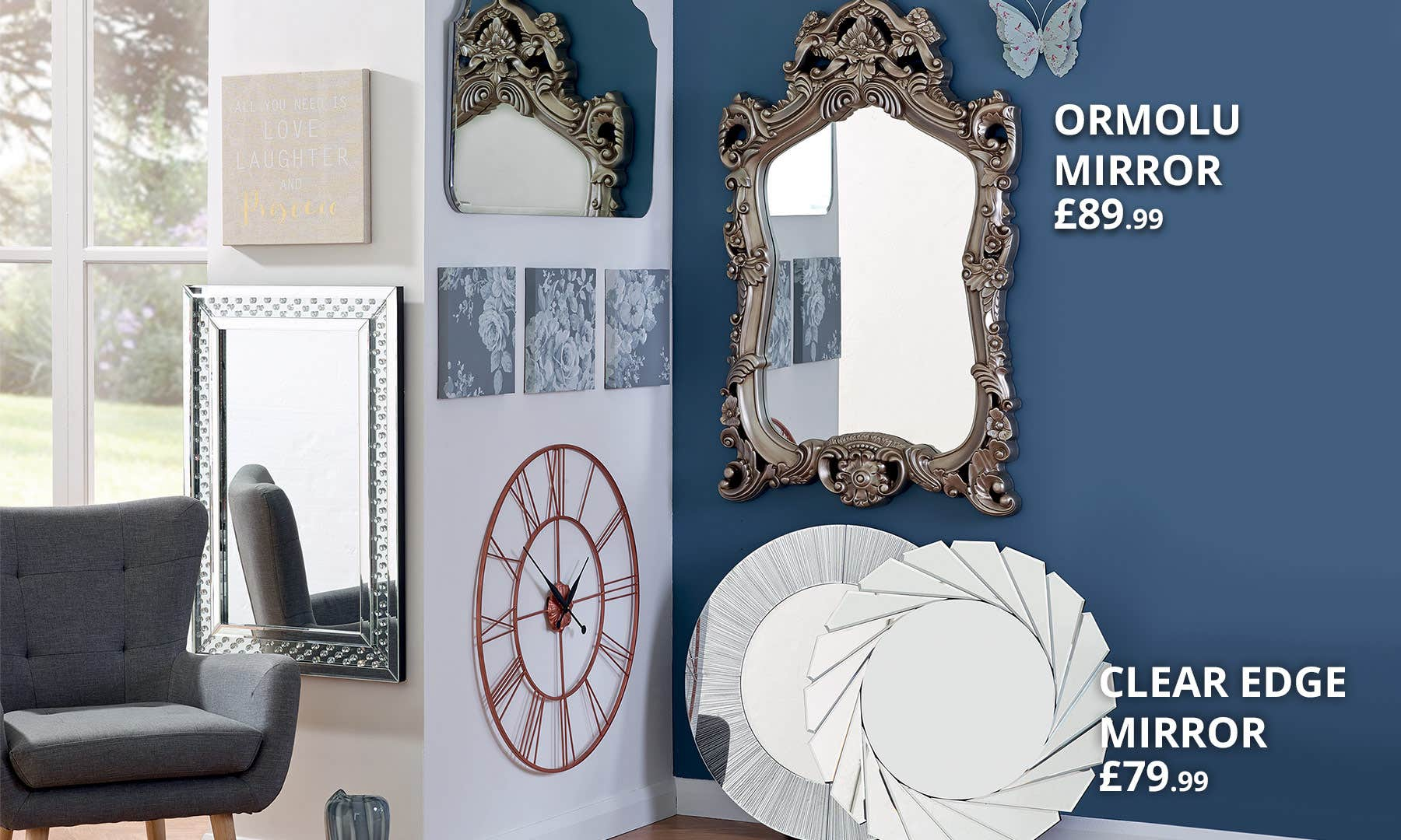 Mirrors & Clocks | Dunelm