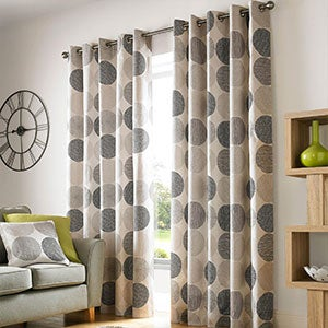 Charcoal Belize Lined Eyelet Curtains
