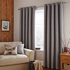 Grey Harris Lined Eyelet Curtains