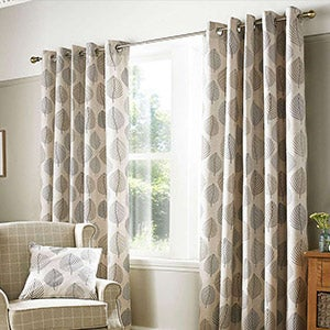Pebble Regan Lined Eyelet Curtains