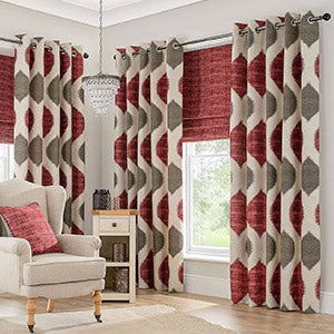 Red Morocco Lined Eyelet Curtains