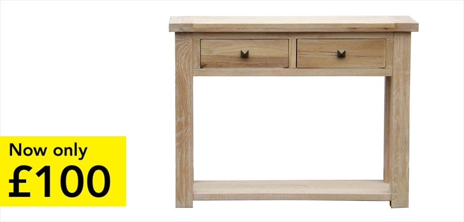 Henley Washed Oak Console Table | Now only £100
