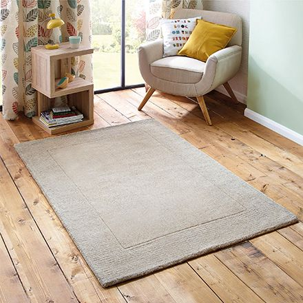 Natural Border Wool Rug