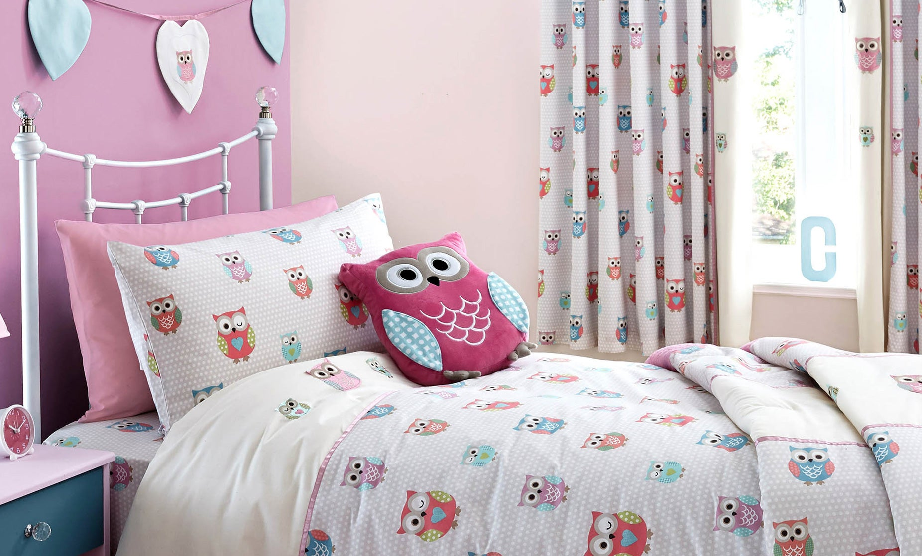 Pretty owls childrens bedroom trend dunelm for Bedroom curtains and bedding