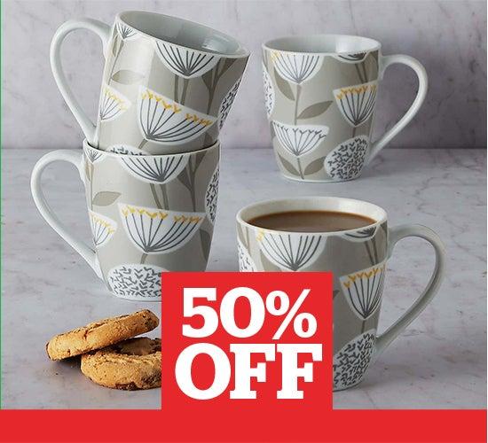 Emmott Grey Pack of 4 Mugs