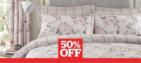 Ashbourne Blush Duvet Cover and Pillowcase Set